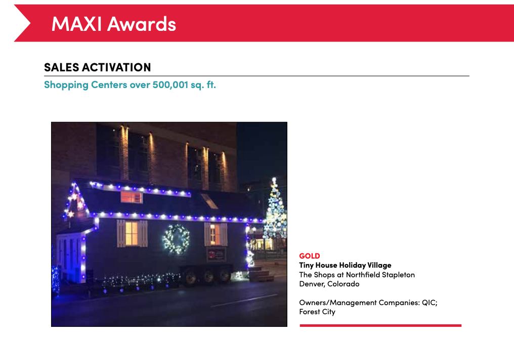 Tiny House Holiday Village Wins Gold Award in ICSC's 2018 MAXI Awards
